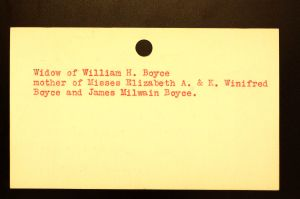 Boyce, Mrs. Catherine V. B. Milwain - Menands Funeral Card (Back)