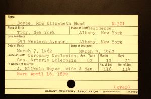 Boyce, Mrs. Elizabeth Bond - Menands Funeral Card
