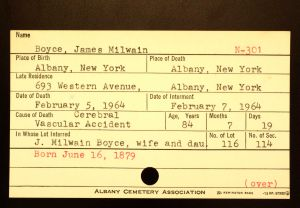 Boyce, James Milwain - Menands Funeral Card