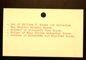 Boyce, James Milwain - Menands Funeral Card (back)
