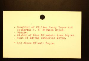 Boyce, Miss Kathryn Winifred - Menands Funeral Card (back)