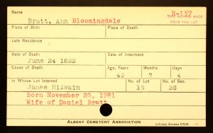 Bratt, Ann (Bloomindale) - Menands Cemetery Burial Card