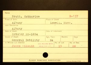 Bratt, Catherine - Menands Cemetery Burial Card