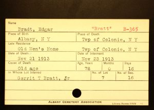 Bratt, Edgar - Menands Cemetery Burial Card