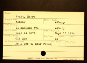 Bratt, Henry - Menands Cemetery Burial Card