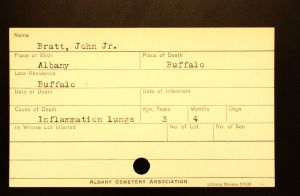 Bratt, John Jr. - Menands Cemetery Burial Card