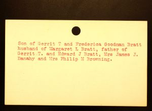 Bratt, Joshua Rathbun (Back) - Menands Cemetery Burial Card