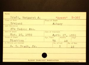 Bratt, Margaret A - Menands Cemetery Burial Card
