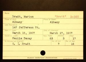 Bratt, Marion - Menands Cemetery Burial Card
