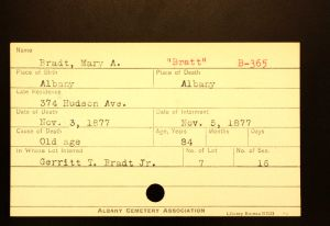 McWilliams, Mary Ann (Bratt) - Menands Cemetery Burial Card