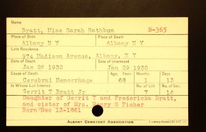 Bratt, Miss Sarah Rathbun - Menands Cemetery Burial Card