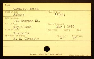 Bratt, Sarah (Clement) - Menands Cemetery Burial Card