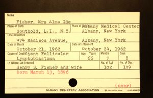 Ide, Alma (Fisher) - Menands Cemetery Burial Card