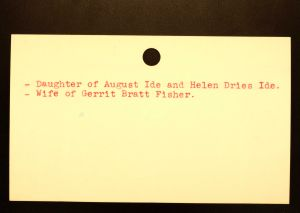 Ide, Alma (Fisher) [Back] - Menands Cemetery Burial Card