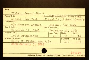 Fisher, Gerrit Bratt - Menands Cemetery Burial Card