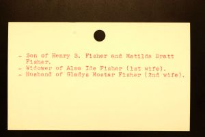Fisher, Gerrit Bratt (Back) - Menands Cemetery Burial Card