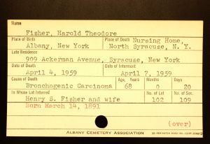 Fisher, Harold Theodore - Menands Cemetery Burial Card