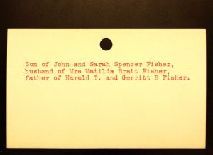 Fisher, Henry Spencer [Back] - Menands Cemetery Burial Card