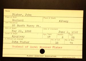 Fisher, John - Menands Cemetery Burial Card