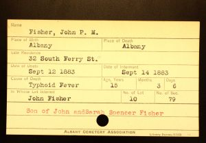 Fisher, John P. M. - Menands Cemetery Burial Card
