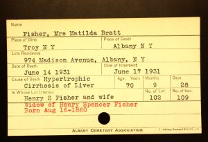 Bratt, Matilda (Fisher) - Menands Cemetery Burial Card
