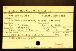 Gonsalves, Rose W (Fisher) - Menands Cemetery Burial Card