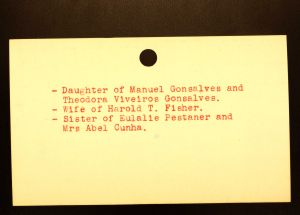 Gonsalves, Rose W (Fisher) [Back] - Menands Cemetery Burial Card