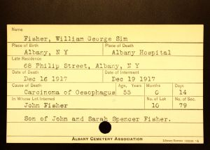 Fisher, William George Sim - Menands Cemetery Burial Card