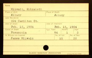Bratt, Elizabeth (Milwain) - Menands Burial Card