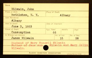 Milwain, John - Menands Burial Card