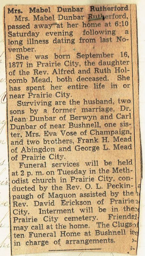 Mead, Mable Claire (Dunbar-Rutheford)- Obit