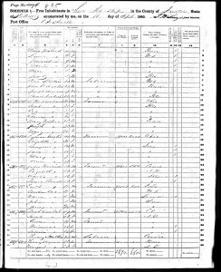 Dunbar, Noah W., 1860, Census, USA, Lee Township, Fulton, Illinois