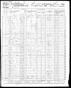 Cole, Peter Burr, 1860, Census, USA, Lee Township, Fulton, Illinois