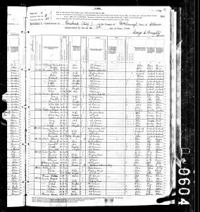 Cole, Peter Burr, 1880, Census, USA, Bushnell, McDonough, Illinois