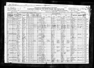 Spangler, Marton Luper, 1920, Census, USA, South San Francisco, San Mateo, California